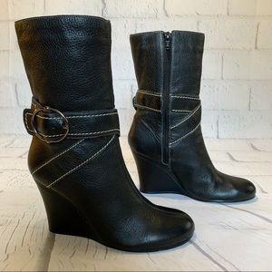 BCBG Paris Black Mid-Calf Wedge Boots
